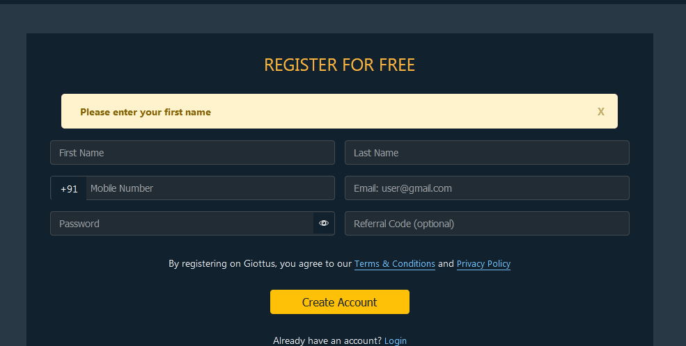 Giottus Signup page
